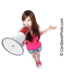 Teenage girl student shouting through megaphone in full length, isolated on white background, high angle view, asian beauty