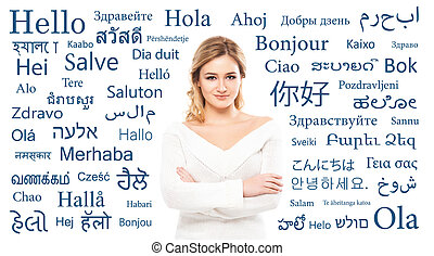Teenage girl study different world languages. Education, language courses and translation concept.