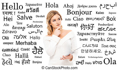 Teenage girl studying different world languages