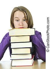 Teenage girl studying - Frustrated teenage girl studying at...