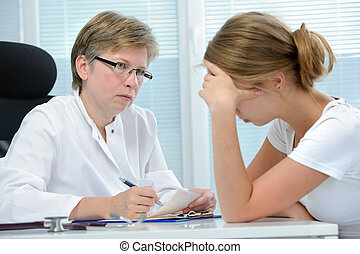 conversation with a therapist - teenage girl suffering with ...
