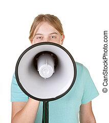 teenage girl talking into megaphone