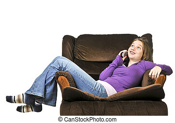 Teenage girl talking on a phone