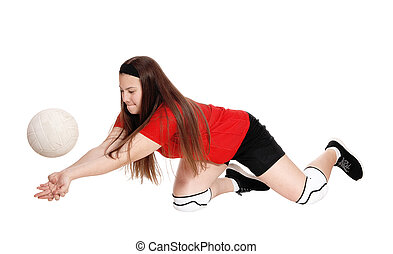 Teenage girl try to catch the ball