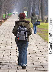Teenage girl walking