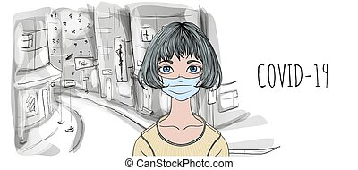 Teenage girl wearing surgical mask on empty street of the city, with COVID-19 text and copy space. Self-isolation, lockdown concept. Flat vector illustration on white background.