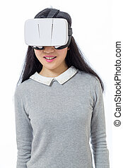 Teenage girl with 3D goggles