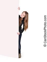 Teenage girl with big banner