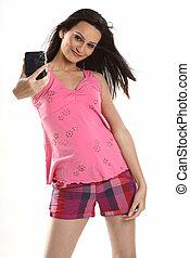 teenage girl with camera