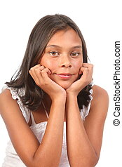 Teenage girl with chin on hands