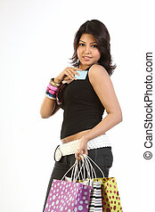 Teenage girl with credit card bags