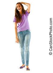 teenage girl with hand on head