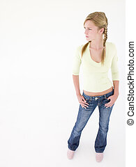 Teenage girl with hands on hips
