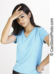 Teenage girl with headache