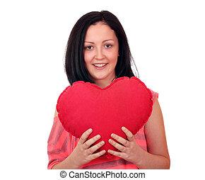 teenage girl with heart