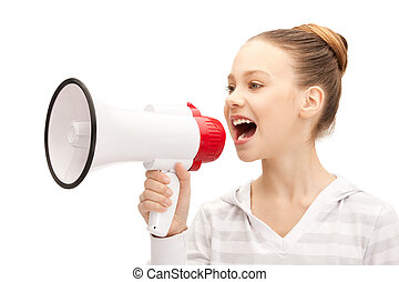 teenage girl with megaphone - bright picture of teenage girl...