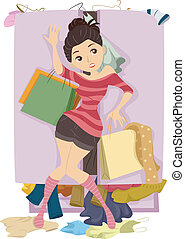 Teenage Girl with Overflowing Closet - Illustration of...
