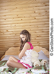 Teenage Girl  with plush bear