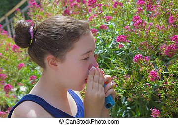 Teenage girl with pollen allergy - Teenage girl in flower...