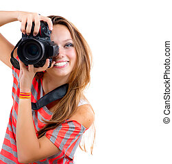 Teenage Girl with Professional Photo Camera. Isolated on...