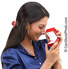 Teenage girl with ring in the box