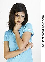 Teenage girl with sad expression