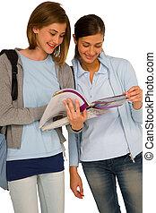 teenage girls with books
