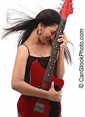 teenage, gitara, dzierżawa, dziewczyna