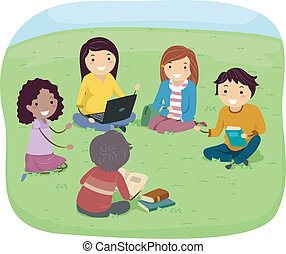 Teenage Group Discussion - Illustration of Teens Having a...