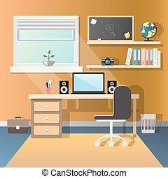 Teenage guy room with workplace.
