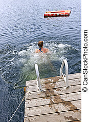 teenage, jezioro, dziewczyna, pływacki