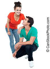 teenage kochają, para, razem, przedstawianie, godny podziwu