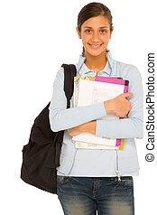 teenage, książki, plecak, dziewczyna