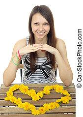 teenage, kształt, dziewczyna, mniszki lekarskie, kwiaty, 16, jeden, żółty, heart.