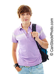Teenage lad - Portrait of teenage boy with backpack looking...