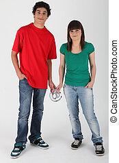 @, teenage para, dzierżawa, znak