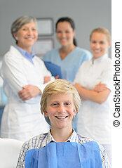 Teenage patient professional dentist team checkup