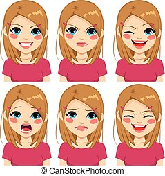 Teenage Pink Girl Face Expressions - Teenage girl making six...