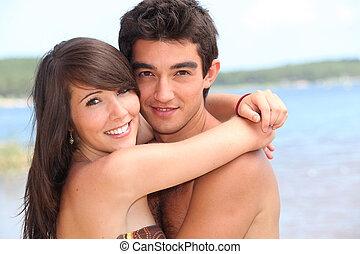 teenage, plaża., para