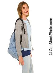 teenage, plecak, dziewczyna