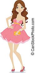 Teenage Prom Girl - Illustration of a Teenage Girl dressed...