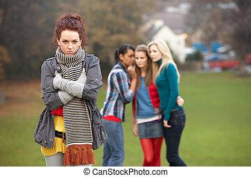 teenage, przewrócić, tło, gossiping, drużki