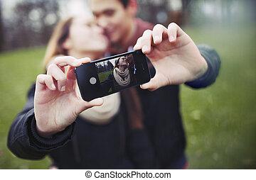 teenage, romantyk, wpływy, jaźń portret, para