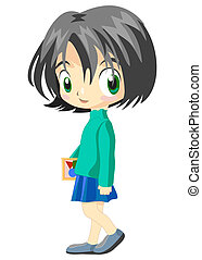 teenage school girl with books vector eps10