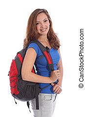 Teenage school girl with rucksack and happy smile