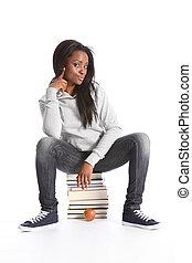 teenage, siada, książki, czarnoskóry, student, dziewczyna, wykształcenie