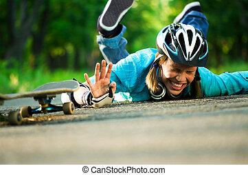 teenage, skateboard, dziewczyna