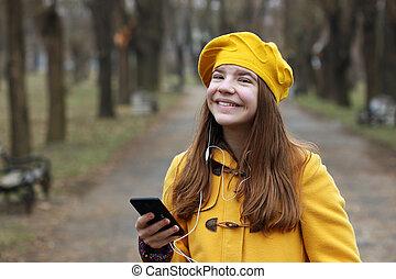 teenage, smartphone, muzyka, dziewczyna, słucha