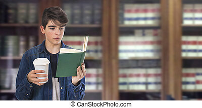 teenage student with books