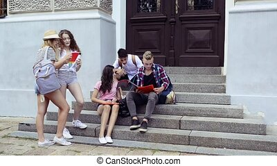 Teenage students in front of university talking.